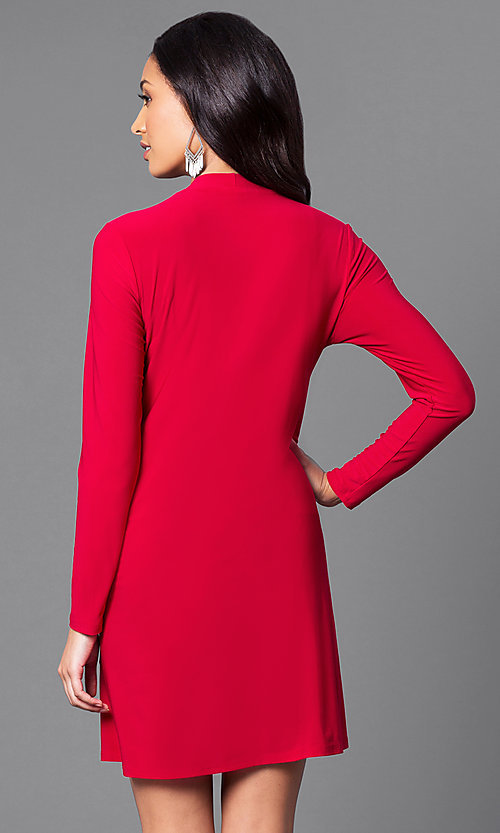 Image of short red casual party dress with long sleeves. Style: JU-TI-89132 Back Image