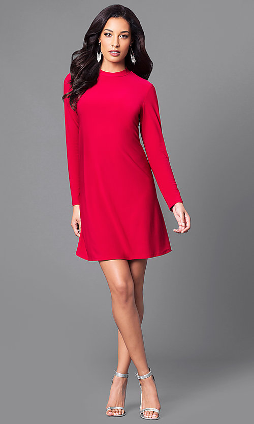 red longsleeve casual cheap party dress promgirl