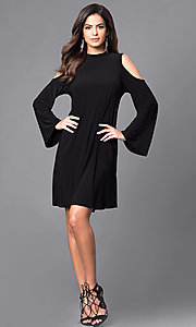 Image of bell-sleeve cold-shoulder short party dress. Style: JU-TI-89162 Detail Image 1