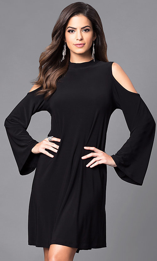Image of bell-sleeve cold-shoulder short party dress. Style: JU-TI-89162 Front Image
