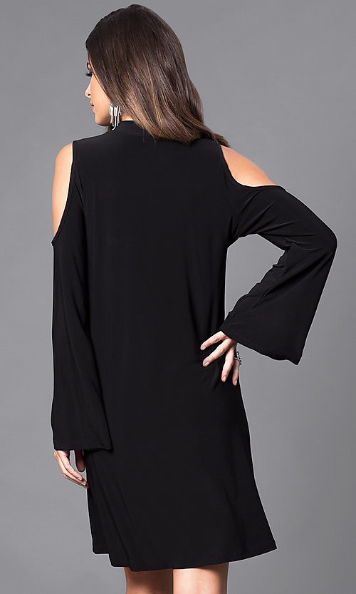 Image of bell-sleeve cold-shoulder short party dress. Style: JU-TI-89162 Back Image
