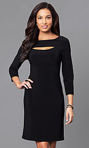 Black Short Party Dress with Three-Quarter Sleeves