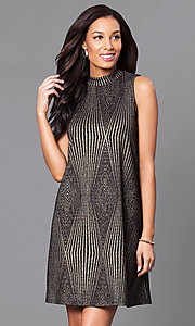 Short Glitter Shift Party Dress