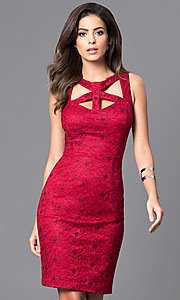 Knee Length Homecoming Dress with Cut Outs