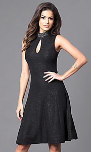 Black Metallic High-Neck Knee-Length Dress