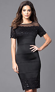Short Sleeve Knee Length Black Party Dress