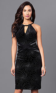 Knee-Length Embellished Black Holiday Party Dress