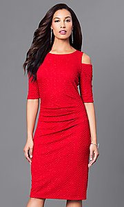 Red Short Glitter-Embellished Holiday Dress