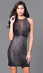 Short Metallic Jersey Party Dress