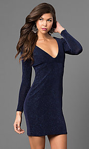 Short Long-Sleeve Party Dress with V-Neck