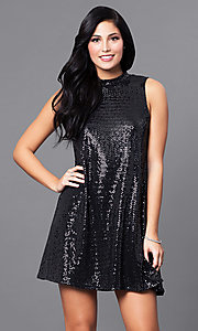 Black Metallic Jersey Short Shift Holiday Dress