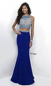Bateau Neck Two Piece Long Prom Dress