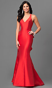 V-Neck Mermaid Prom Dress with Ruffle-Back