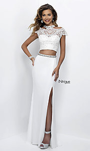 Two Piece Prom Dress with Cap Sleeves