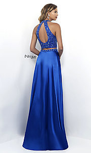 Image of long satin two-piece prom dress in sapphire blue. Style: BL-IN-297 Back Image