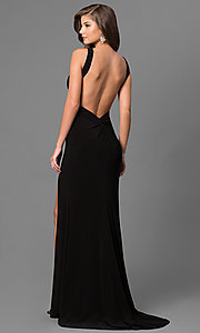 Image of long sweetheart open-back jersey prom dress. Style: BL-IN-299 Back Image
