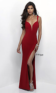Image of long sweetheart open-back jersey prom dress. Style: BL-IN-299 Detail Image 2