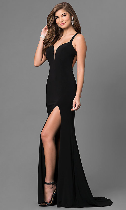 Image of long sweetheart open-back jersey prom dress. Style: BL-IN-299 Front Image