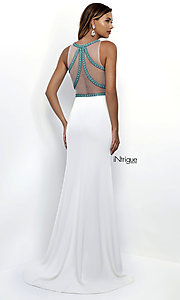 Image of long sleeveless mock two-piece prom dress with beads. Style: BL-IN-307 Back Image