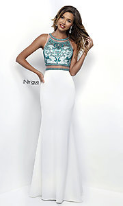Long Sleeveless Mock Two-Piece Prom Dress with Beads