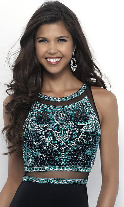 Image of long sleeveless mock two-piece prom dress with beads. Style: BL-IN-307 Detail Image 3