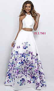 Image of two-piece halter floral-print prom dress by Blush. Style: BL-11218 Detail Image 1