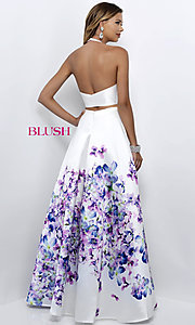 Image of two-piece halter floral-print prom dress by Blush. Style: BL-11218 Back Image