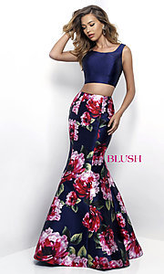 Image of floral-print two-piece long prom dress by Blush. Style: BL-11233 Front Image