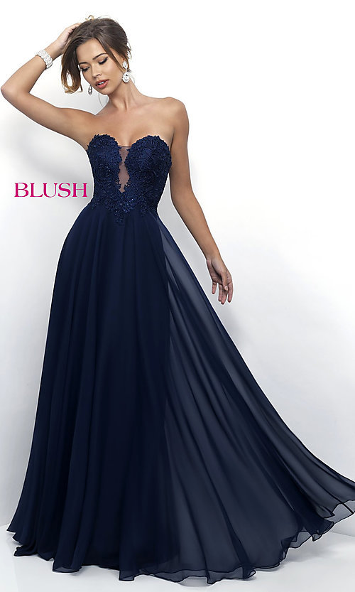 Image of long chiffon lace-bodice prom dress by Blush. Style: BL-11234 Front Image