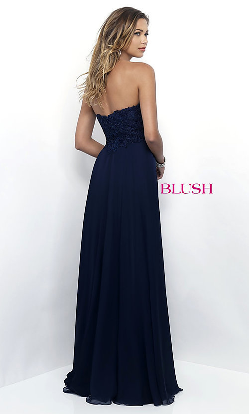 Image of long chiffon lace-bodice prom dress by Blush. Style: BL-11234 Back Image