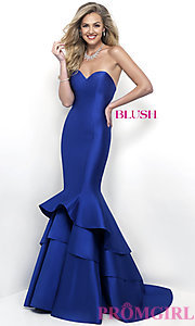 Image of mermaid long prom dress from designer Blush. Style: BL-11320 Detail Image 2