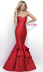 Image of mermaid long prom dress from designer Blush. Style: BL-11320 Front Image