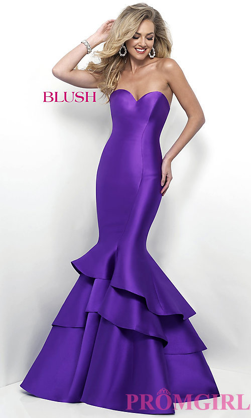 Image of mermaid long prom dress from designer Blush. Style: BL-11320 Detail Image 1