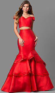 Image of two-piece Jovani mermaid long prom dress. Style: JO-46866 Front Image