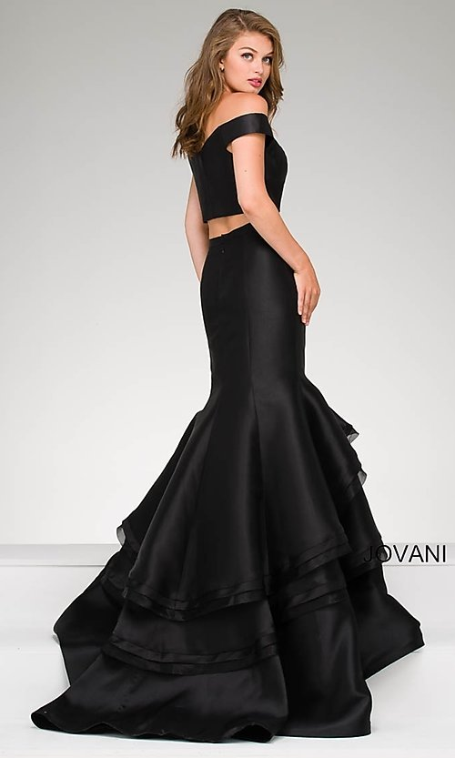 Image of two-piece Jovani mermaid long prom dress. Style: JO-46866 Back Image