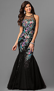 Black Prom Dress with Multi-Color Embroidery