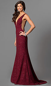 V-Neck Glitter Prom Dress by Jovani
