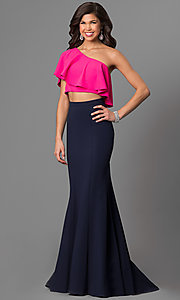One Shoulder Two-Piece Prom Dress