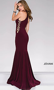 Image of high-neck long prom dress with lace-up sides. Style: JO-50487 Back Image