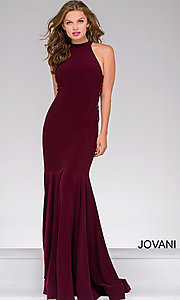 Image of high-neck long prom dress with lace-up sides. Style: JO-50487 Front Image