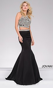 Two-Piece Jovani Prom Dress with Beaded Top