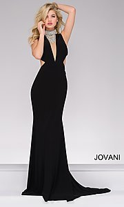 Long Jovani Prom Dress with Beaded Neckline