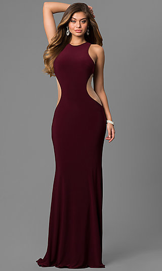 Jovani Long Jersey Prom Dress with Side Cut Outs