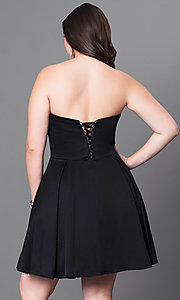 Image of plus-size strapless sweetheart homecoming party dress. Style: DQ-9492P Back Image