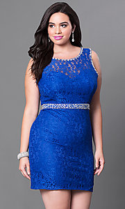 Image of short open-back plus-size lace homecoming dress. Style: DQ-9506P Front Image