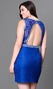Image of short open-back plus-size lace homecoming dress. Style: DQ-9506P Back Image