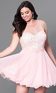 Embellished Illusion Sweetheart Plus Size Dress