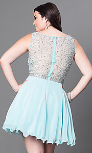 Image of plus-sized jeweled-illusion sweetheart party dress. Style: DQ-9459P Back Image