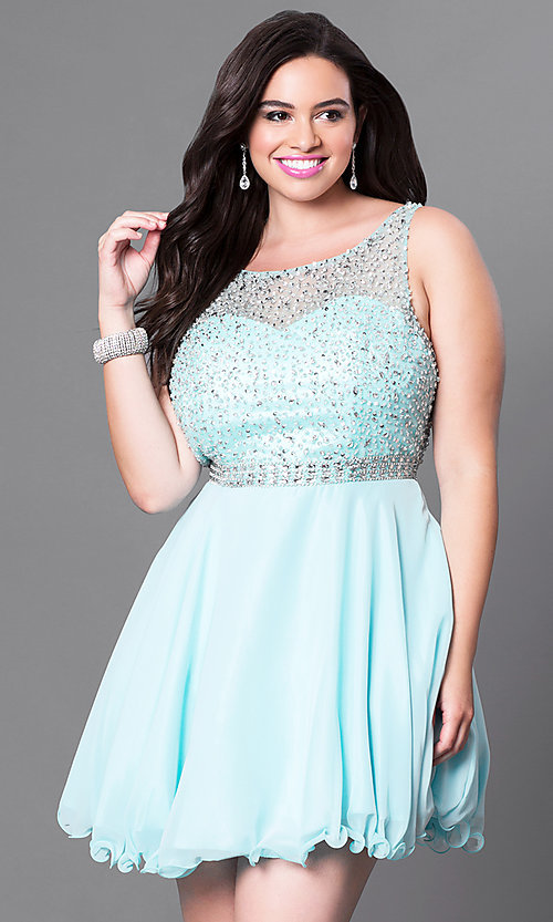 Image of plus-sized jeweled-illusion sweetheart party dress. Style: DQ-9459P Front Image
