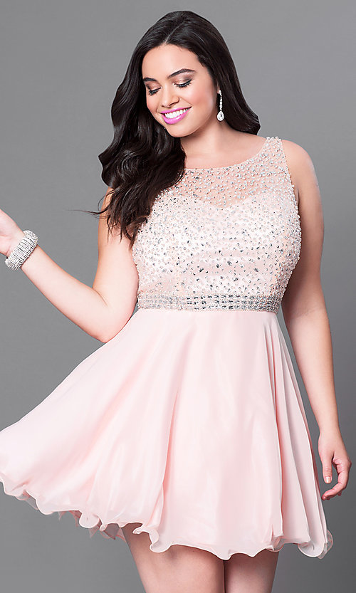 Image of plus-sized jeweled-illusion sweetheart party dress. Style: DQ-9459P Detail Image 1
